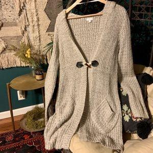 Cardigan sweater w/ hood
